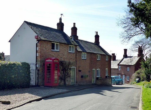 Main Street Keyham, with telephone kiosk and The Old Post House