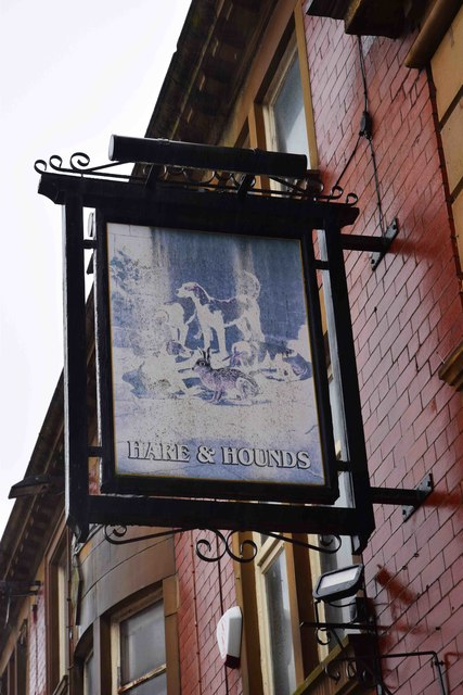 Hare & Hounds (2) - sign, 16 Yorkshire Street, Oldham