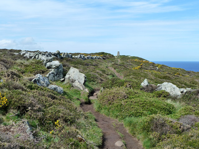 Path towards trig point, Trevega Cliff