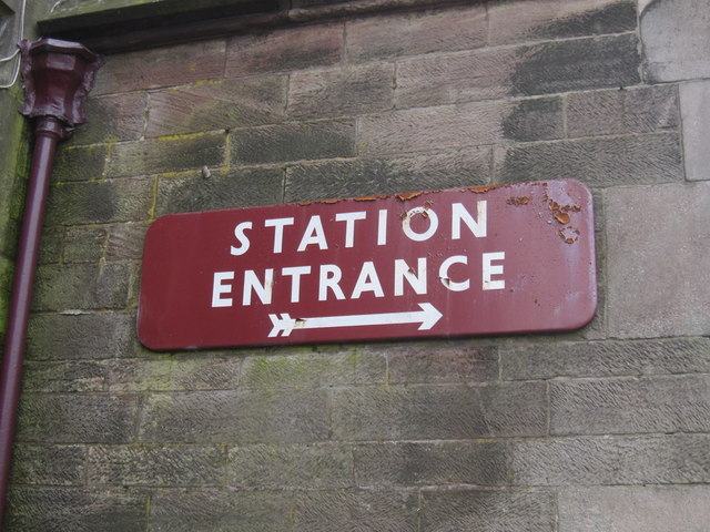 Cheddleton Station - 'Station Entrance' sign