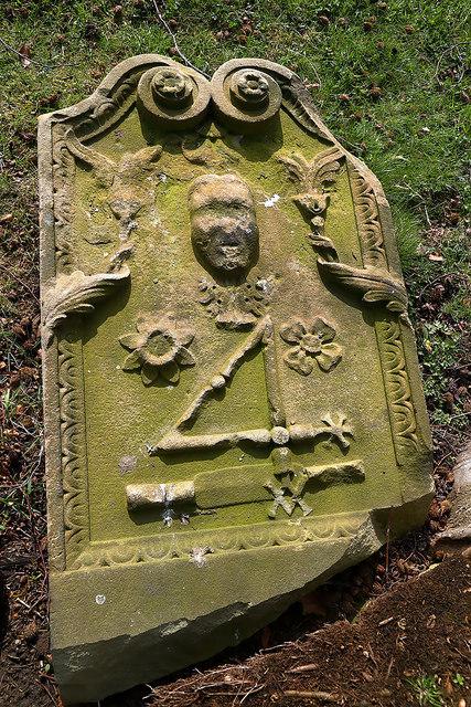 A symbolic gravestone in Old Galashiels Parish Church burial ground
