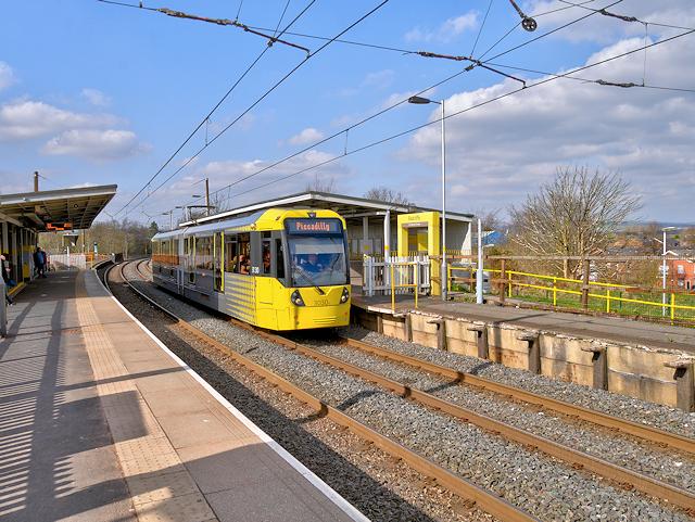 Metrolink Tram at Radcliffe Station