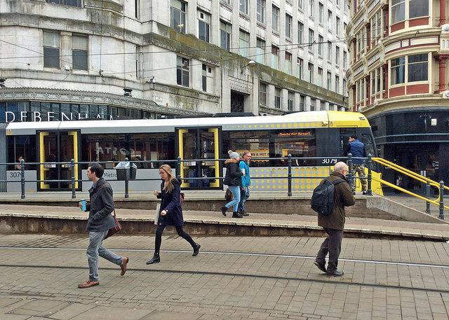 Manchester: Metrolink tram at Market Street