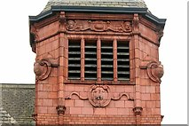 SE2932 : Former Holbeck Public Library - Tower close-up with Leeds City arms by Alan Murray-Rust