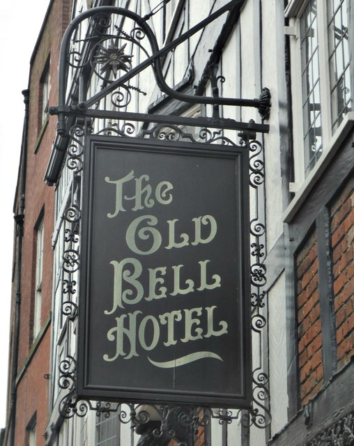 The sign of The Old Bell Hotel
