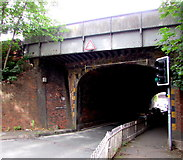 SO8555 : West side of the B4636 railway bridge, Worcester by Jaggery