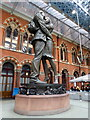 TQ3082 : Bronze statue of lovers embracing at St Pancras station by PAUL FARMER