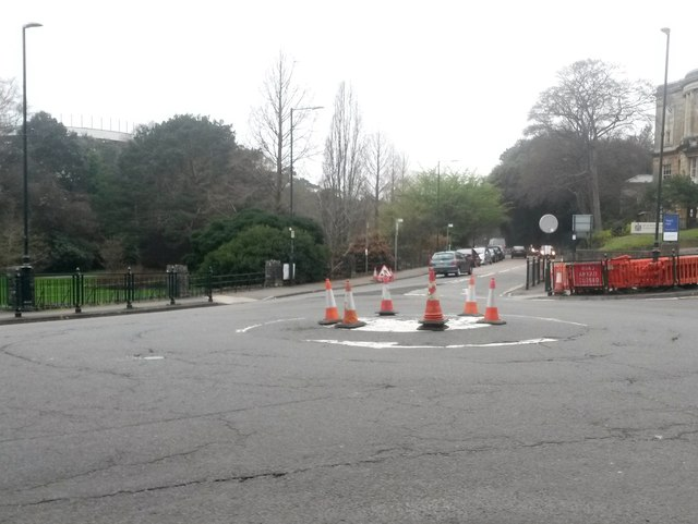 Bournemouth: traffic cones gather on a mini-roundabout