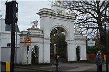 TQ2162 : Entrance arch, Bourne Hall by N Chadwick