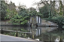 TQ2162 : Garden wall and lake, Bourne Hall by N Chadwick
