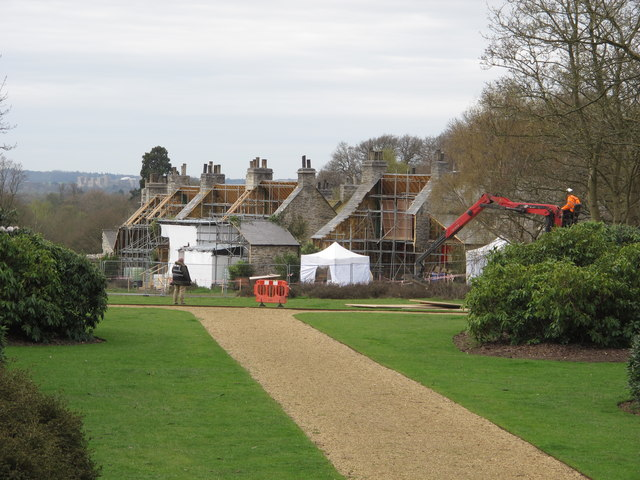 Film set in Langley Park, view from Temple Gardens