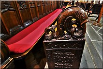 SX3384 : Launceston, St. Mary Magdalene's Church: Bench end 2 by Michael Garlick