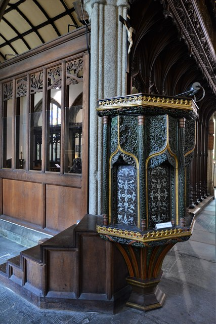 Launceston, St. Mary Magdalene's Church: The early c16th pulpit 1