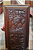 SX3384 : Launceston, St. Mary Magdalene's Church: Fine late Victorian bench ends 1 by Michael Garlick