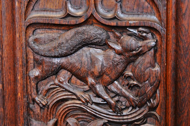 Launceston, St. Mary Magdalene's Church: Fine late Victorian bench ends 3