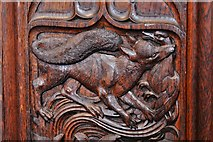 SX3384 : Launceston, St. Mary Magdalene's Church: Fine late Victorian bench ends 3 by Michael Garlick