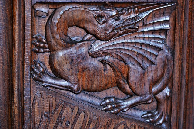 Launceston, St. Mary Magdalene's Church: Fine late Victorian bench ends 5