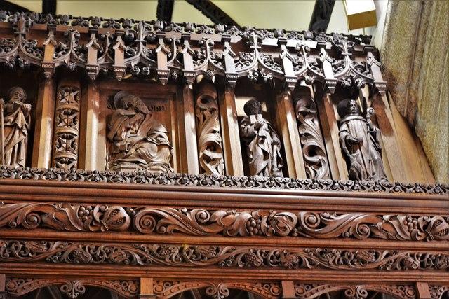 Launceston, St. Mary Magdalene's Church: Chancel screen detail 2