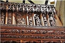 SX3384 : Launceston, St. Mary Magdalene's Church: Chancel screen detail 2 by Michael Garlick