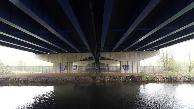 M25 from Below Showing Bridge over the River Lee Navigation