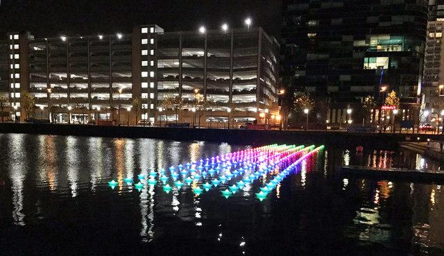"View of Aether & Hemera's ""Voyage"" - flotilla installation in Salford Quays"