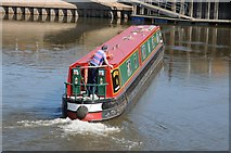 SO8453 : Narrowboat on the River Severn by Philip Halling