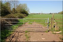 SO8451 : Gate and stile on meadowland by Philip Halling