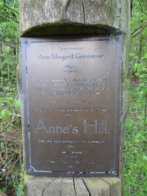 Inscription on memorial mark at Anne's Hill