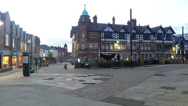 Wigan Market Place in early evening