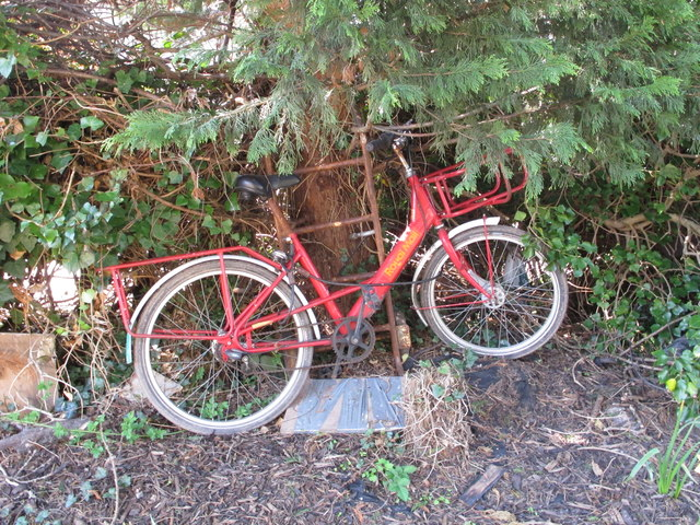 Former Royal Mail delivery bike on canal towpath