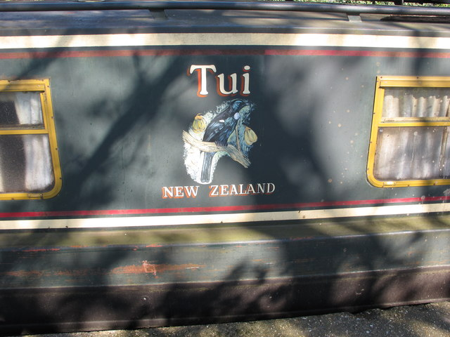 """Tui, New Zealand"", decorative name panel of narrowboat"