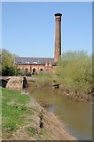 SO8352 : Powick Mills and chimney by Philip Halling