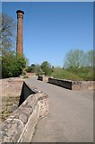SO8352 : Old Powick Bridge and chimney by Philip Halling