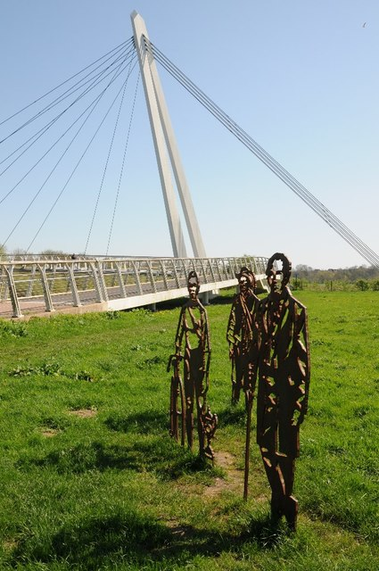 Cut out metal figures and Diglis Bridge