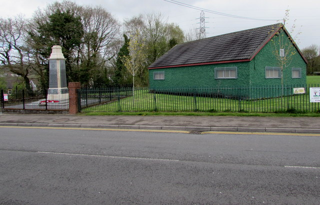 Green sports pavilion near the War Memorial, Pengam by Jaggery
