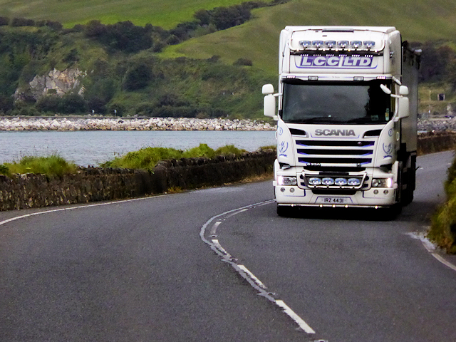 Scania HGV on the Coast Road between Glenarm and Carnlough