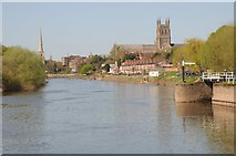 SO8453 : The River Severn and Worcester Cathedral by Philip Halling