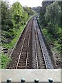 NZ1064 : Newcastle-Carlisle Railway from bridge at Hagg Bank by Andrew Curtis
