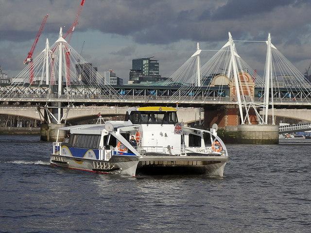 River cruise catamaran near Hungerford Bridge