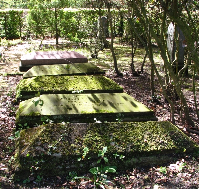 Sarcophagus-type gravestones in the gardens of remembrance