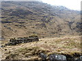 NM9199 : Ruins of shieling hut by the stalkers' path by Richard Law