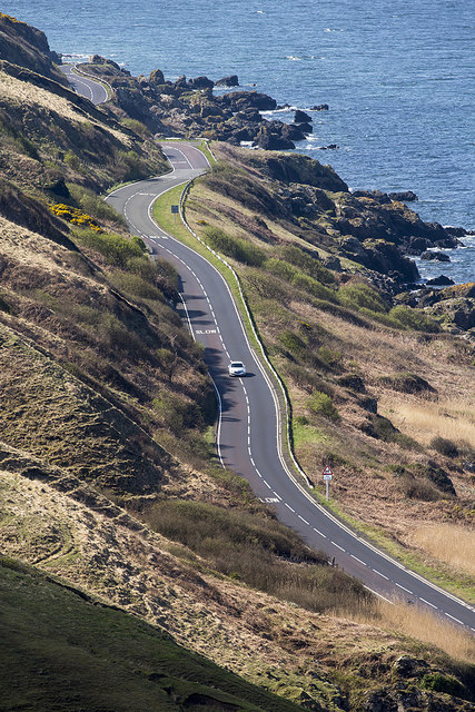 The A77 coastal road from Bellmoor Hill