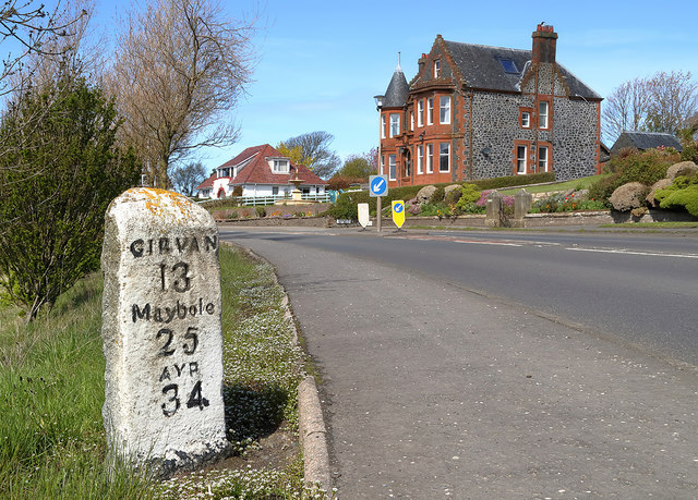 A milestone at Ballantrae