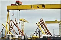 J3574 : Wind turbine parts, Harland & Wolff, Belfast - May 2018(1) by Albert Bridge