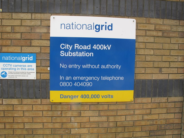 Sign for City Road 400kV substation