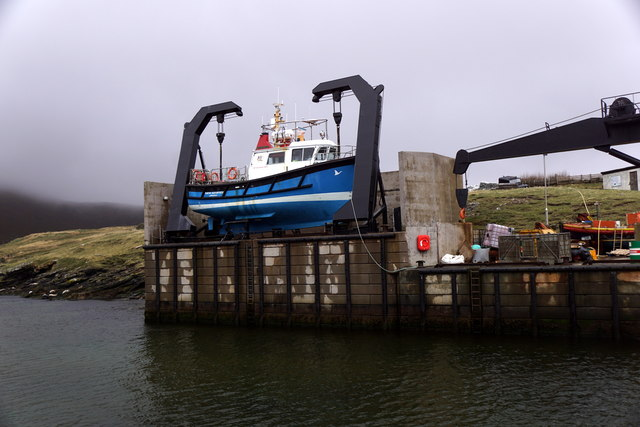 The Foula ferry New Advance in its cradle at Ham Voe, Foula