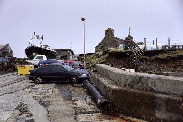Cars on the pier at Ham Voe, Foula