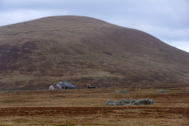 Breckins and the Noup from the airstrip, Foula