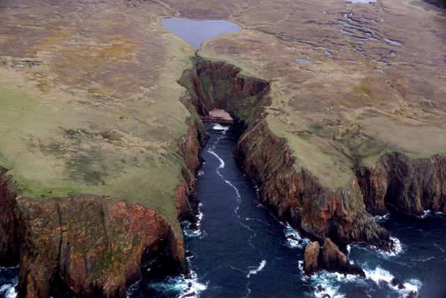 Lambi Geo and Lambi Loch, Westerwick, from the air