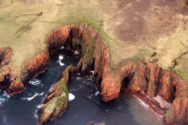 Flae Geos, near Reawick, from the air